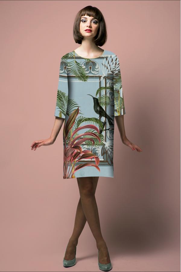 """Robe droite imprimée made in france """"Art déco, oiseau bleu"""" l Rose de Fontaine"""