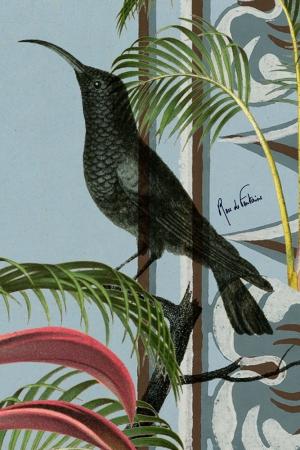 """Suedine imprimée """"Art déco, oiseau bleu"""" l Rose de Fontaine"""