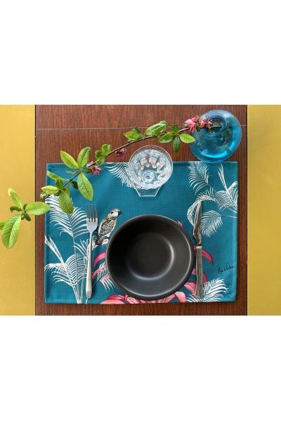 """Set de table enduit """"Art déco, perroquet"""" l Rose de Fontaine"""
