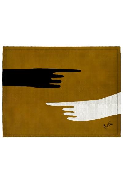 """Set de table enduit """"Art abstrait, main"""" l Rose de Fontaine"""