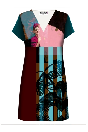 "Robe droite imprimée made in France ""tropique Frida"" l Rose de Fontaine"