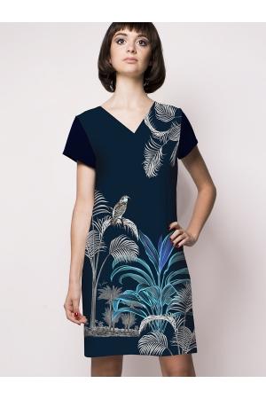 """Robe droite imprimée made in France """"Art déco, perroquet"""" l Rose de Fontaine"""