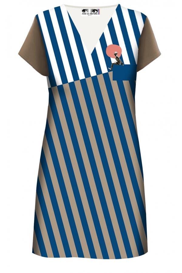 "Robe droite imprimée made in France ""Bayadère, nageuse"" l Rose de Fontaine"