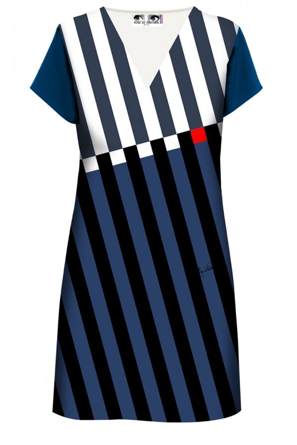 "Robe droite imprimée made in France ""Bayadère, ocean"" l Rose de Fontaine"