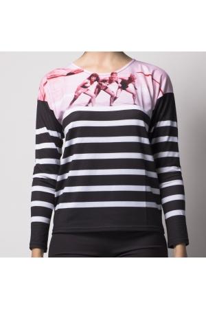 T-shirt manches longues imprimé motif TRIO ROSE