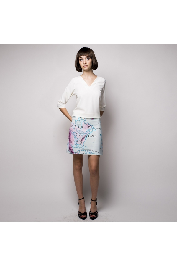 "PRINTED CREPE TOP COLLECTION NATURE EXCENTRIK ""pink flamingo"""