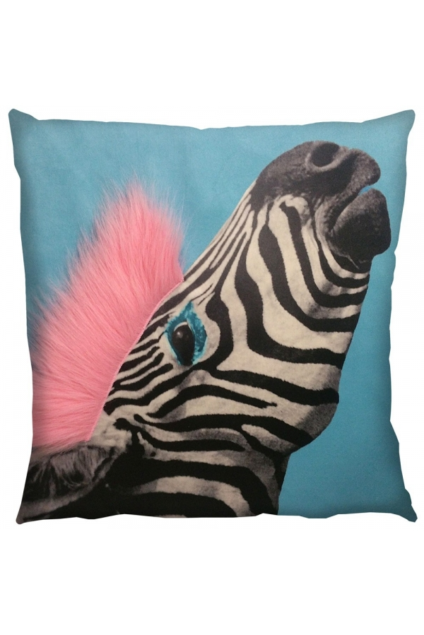 printed cushion with fur flamingo