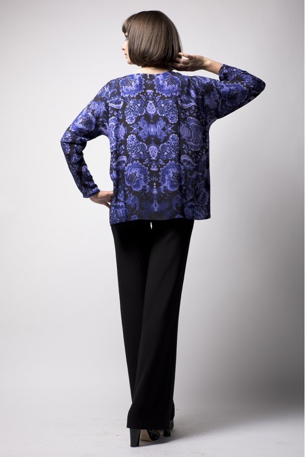 Top oversize printed long sleeves pattern PIEUVRE MARINE