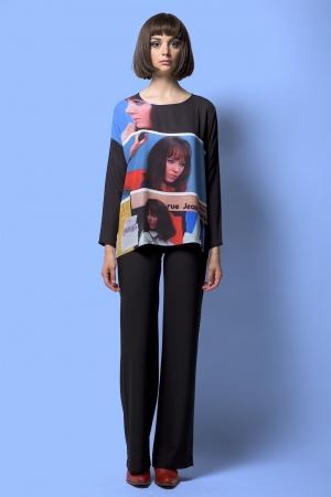 Top oversize printed long sleeves pattern PIEUVRE MARINE
