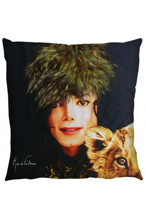 PRINTED AND FUR CUSHION STARDUST WHITE